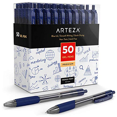 Arteza Gel Pens, Set of 50 Blue Roller Ball Bullet Journal Pens, Quick-Drying Ink, Fine Point, Office Supplies for Writing, Taking Notes & Sketching