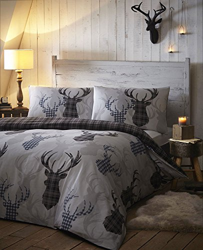 DUVET COVER BED SETS - TARTAN STAG REVERSIBLE BEDDING CHECKED QUILT COVER BED SET GREYS (King)