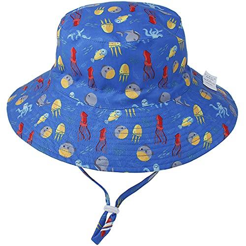 Unisexo Bebé Sombrero de Sol Pulpo Azul Gorro de Pescador Pequeños Infantil Verano Exteriores Protección Solar ala Ancha Gorro de Playa para 0-6 Meses Niña Niño