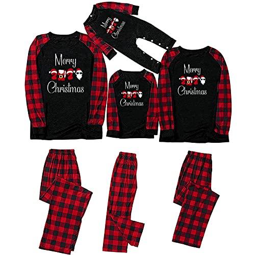 Pijamas de Navidad 2021 Familia Conjunto Pantalon y Top Pijamas Mujer Hombre Impresión a cuadros Invierno Manga Larga Ropa de Dormir 2 Piezas Niños Niña Bebés Mamá Papá Romper Homewear