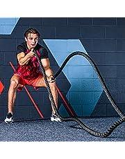 METIS 9M, 12M & 15M Battle Rope - 38mm & 50mm Diktes | Hoogkwalitatieve Gewogen Fitnesstouwen Voor Krachttraining, CrossFit, Fitness & Meer