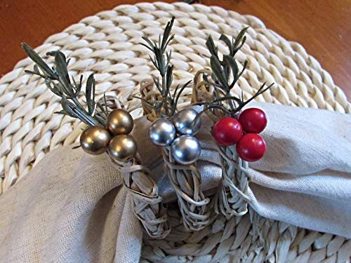 Christmas Napkin Ring Holders- Evergreen- Gold, Silver or Red Beads- Holiday Kitchen Dining Table Decor (Set of 4, 6, 8, 10, 12)
