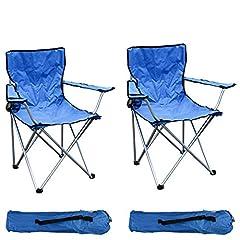 Mojawo 2-er set de fauteuil de pêche chaise de camping chaise pliante chaise de pêche chaise de pêche chaise de mise en scène bleu avec porte-boissons et sac résistant jusqu'à 120kg