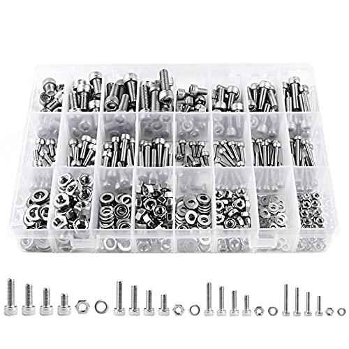 Jayzuum 552 Stück Schrauben Set, M3 M4 M5 M6 A2-70 Edelstahl Sechskopf Schrauben Muttern Unterlegscheiben Sortiment Kit mit Aufbewahrung Box