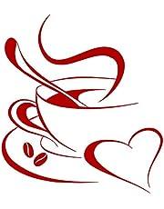 Grandora, W3040, wandtattoo, koffiekopje, hart II, koffiekopje, bonen, zelfklevend, keuken, sticker, muursticker, muursticker, W3040 30 x 34 cm rood