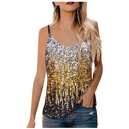 Janly Clearance Sale Chaleco de verano para mujer, top con lentejuelas para mujer, camiseta con tirantes con purpurina, camiseta corta con túnica para el día de Pascua, San Patricio (Oro-M)