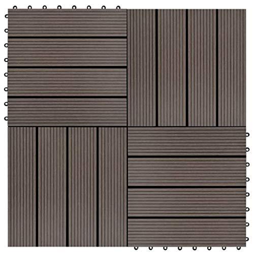HUANGDANSP Baldosas de Porche WPC 30x30 cm 2 m² marrón Oscuro 22 Unidades Bricolaje Materiales de construcción Suelos y moquetas