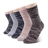 Sholov Calcetines Mujer/Hombres, 5 Pack Calcetines Transpirables de Lana Merino, Calcetines Termicos, Calcetines Deportivos Antiampollos para Uso Diario, Correr,Escalar, Bici (color 1)
