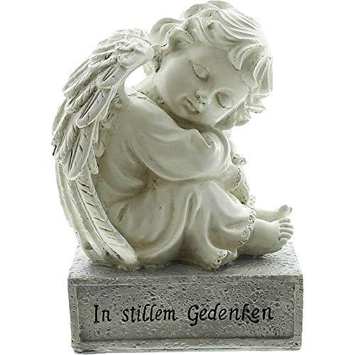 SIDCO Trauerengel Grabschmuck Engel in stillem Gedenken Figur Trauer Spruchstein Grab