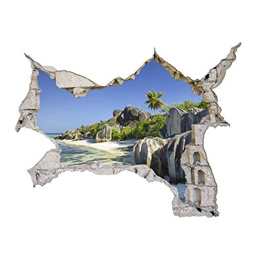 Bilderwelten 3D Wandtattoo - Traumstrand Seychellen - Quer 3:4, HxB: 75cm x 100cm