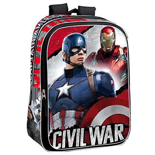 Guerre Civile 43 cm La Justice Marvel Captain America et Iron Man Sac à Dos (L, Rouge)