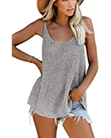 SMENG Women's Spaghetti Strap Knit Tank Top Loose Blouses Plain Thin Sweaters Maternity Workout Scoop Neck Summer Cute Outfits Shirts Gray L