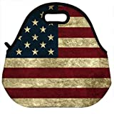 VIPbuy Waterproof Thermal Insulated Neoprene Lunch Bag Lunchboxes Container , American Flag Pattern