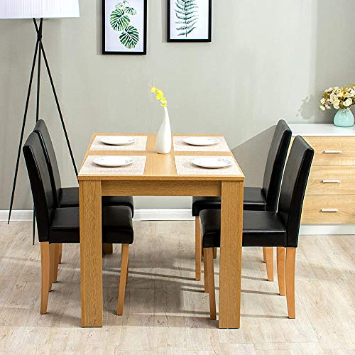 4-Seater Dining Table with Four Chairs Furniture Leather Seats,Brown
