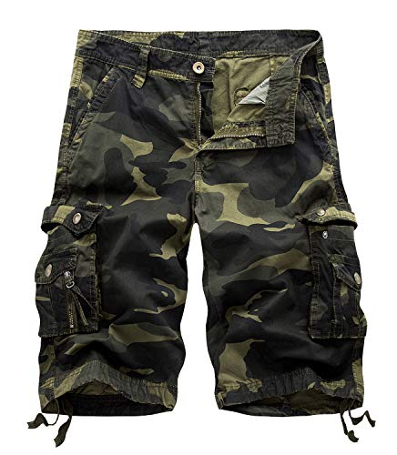 Yidarton Cargo Shorts Herren Kurze Hosen Outdoor Casual Cargo Bermudas Sommer Unifarben/Camouflage (ohne Gürtel), L-CN 34, Style2-deep Army Farbe Camouflage