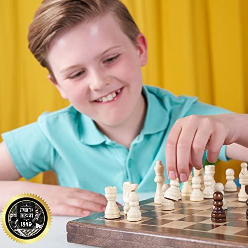 Jaques Schachkassette - Komplett Handgeschnitzt Echt Jaques Schachspiel mit Faltschachbrett & Etui