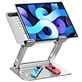 Portable Ergonomic Aluminum iPad Stand,GZ GZHISY Adjustable Foldable Tablet Holder for Desk Compatible with iPad Pro Mini Air,Microsoft Surface,Samsung Galaxy Tab,Nintendo Switch,Kindle Fire,Silver