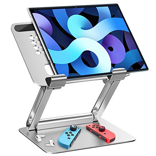 """Portable iPad Stand,GZ GZHISY Aluminum Adjustable Foldable Tablet Holder for Desk Compatible with iPad Pro 9.7, 10.5, 12.9 Mini Air 4 3 2,Microsoft Surface,Samsung Galaxy,Kindle Fire(4-13"""")-Siliver"""