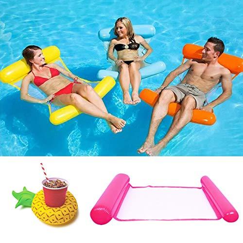 Yitla Hamaca de agua hinchable + soporte para bebidas inflable, juego de cama de aire para piscina, cama de natación inflable, hamaca de agua 4 en 1, tumbona para piscina para adultos y niños (rosa)
