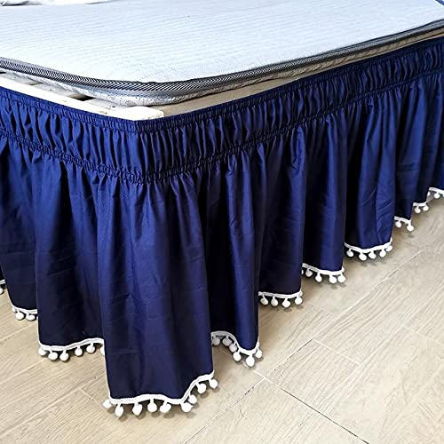 RuiPingRuiLaias Bed skirt 46 Bed Skirt Elastic Bed Ruffles Easy Fit Easy Off Fade Resistant Solid Color Bed Skirts Hotel Quality For home, hotel (Color : Blue, Size : 180x220x40cm)