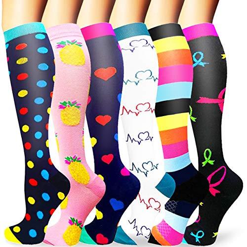 Sooverki Calcetines de compresión para Mujeres y Hombres 20-25 mmHg es el Mejor Graduado atlético, Correr, Volar, Viajar, Enfermeras 03-Multicolor-6 Pares L/XL