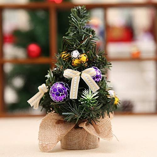 KEAIDO 20cm/9in Tabletop Christmas Tree, Desktop Mini Ornament Artificial Tree Holiday Decoration Xmas Craft DIY with Burlap Base Stand (Purple)