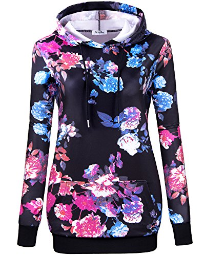 hoodies for teen girls,YaYa Bay Womens Fashion Blue Floral Printed Hoodie shirts Sweatshirts Crewneck Hooded Pullover drawstring Pocket Long Sleeve Soft Surroundings Lightweight Tunic Hoodie xl Black