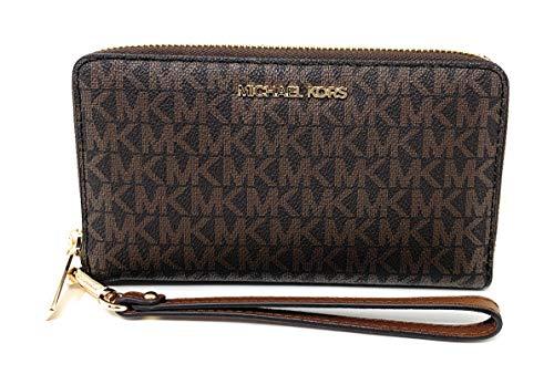 Michael Kors Women\'s Jet Set Travel Medium Zip Around Phone Holder Wallet, Brown