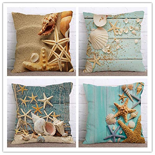 N / A Cushion Covers Marine shell starfish Square Decorative Printed Throw Pillow Case pack of 4 Pillowcases Art Decorative Perfect For Home Office Couch Livingroom,Linen(40x40cm/16x16inch)