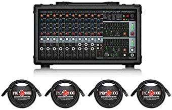 Behringer EUROPOWER PMP2000D 2000-Watt 14-Channel Powered Mixer - with 4X 15' 8mm XLR Microphone Cable
