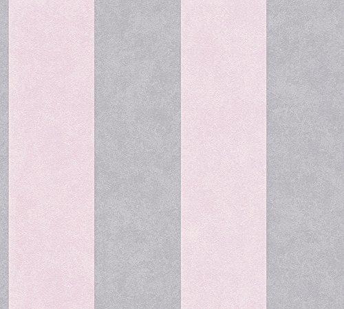 A.S. Création Vliestapete Memory Tapete mit Blockstreifen 10,05 m x 0,53 m grau rosa Made in Germany 329903 32990-3
