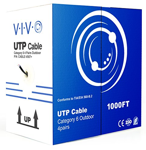 VIVO Black 1,000ft Bulk Cat6, CCA Ethernet Cable, 23 AWG, UTP Pull Box | Cat-6 Wire, Waterproof, Outdoor, Direct Burial (CABLE-V007)