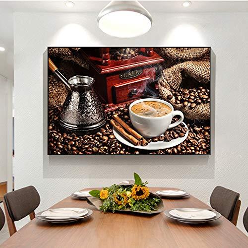 sanzangtang Moderne Kaffee Thema wandkunst leinwanddruck Poster und Druck kaffeebohne leinwand malerei Wohnzimmer wandbild rahmenlose 40x60 cm