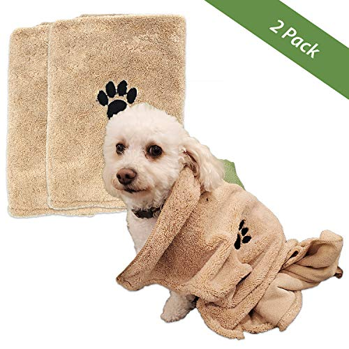 "Zelica Dog Bath Drying Towels | Super Absorbent Shower Towels for Small Pet Dogs | Cute Light Brown Dog Towel | 34"" x 25"" (2 Pack)"
