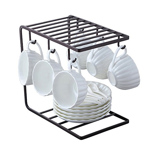 7U Metal Mug Tree Holder Stand for Counter 6 Hooks Coffee Cup Display Hanger Rack Organizer for Kitchen Cabinet - Brown - 9.5 x 9.1In