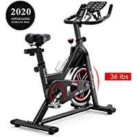 Rinkmo Stationary Indoor Cycling Bike With Belt Drive With 35Lbs Chromed Solid Flywheel, LCD Monitor, Adjustable Seat and Handlebars