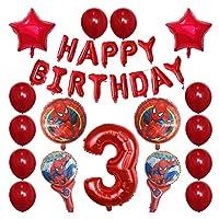 バルーン 30pcsスパイダーマンホイルの風船1 2 3 4 5 6 7 8 9歳の誕生日パーティーの装飾番号バルーンスターキッズのおもちゃ (Color : 3)