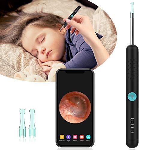 Endoskop zum Entfernen von Ohrenschmalz-Ohrkamera HD 1080P für Ohrenschmalz sauber, Wi-Fi Ohrenreiniger für Android und IOS, Ohrreiniger Mensch mit 6 LED,sichere und weiche(Black)