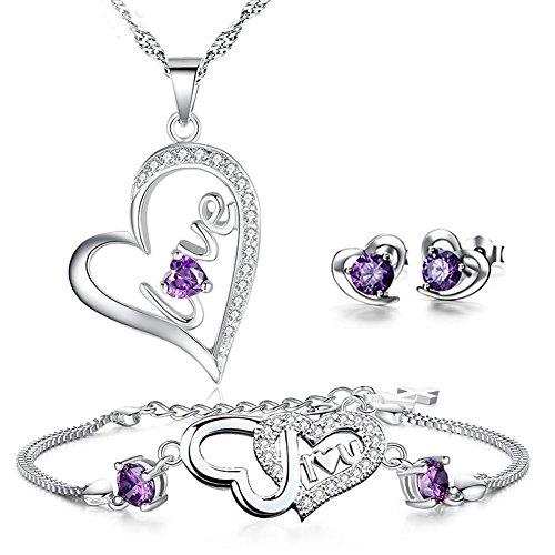 Forfamilyltd Conjunto de collar verdadera plata de ley 925 CZ púrpura del amor del corazón + juego + Stud Pendientes a juego del regalo de la pulsera de Bridemaid