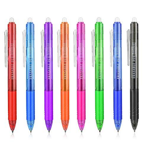 8 Farben versenkbare Lösbare Gel Stifte Clicker, Fine Point Retractable Erasable Gel Pens mit Eraser Gel Tinte Rollerball Stifte für Kinder Erwachsene - 8 Farben Pack 0,5 mm (8 Farben)