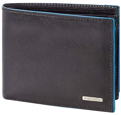 Visconti Trifold Leder Herren Geldbörse mit RFID Schutz Portemonnaie Männer Geldbeutel Portmonaise Portmonee Geldtasche Brieftasche Alps Schwarz/Blau