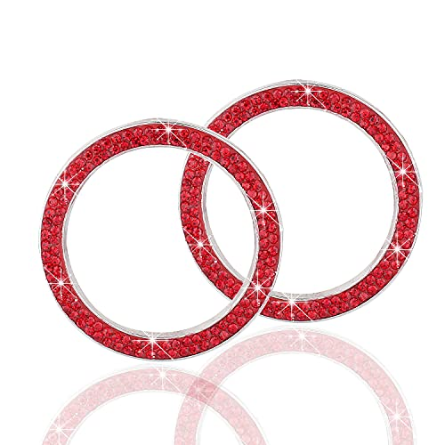 LivTee 2 PCS Crystal Double Rhinestone Car Engine Start Stop Decoration Ring, Bling car Accessories, Push to Start Button, Key Ignition & Knob Bling Ring, Red