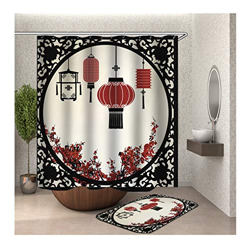 Daesar Fußmatten Badezimme 40x60 Wandschirm Lampion 180x200 cm Badezimmer Duschvorhang, Badematte 2 Teilig