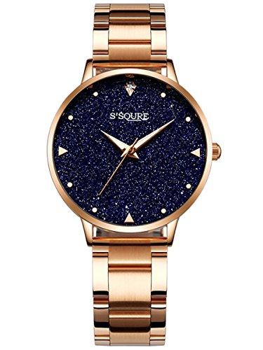Alienwork Damen-Armbanduhr Quarz Rose-Gold mit Edelstahl Metallarmband schwarz echtes Marmor Zifferblatt