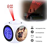 GIRLSIGHT Projection Alarm Clock Wake Up Bedroom with Data and Temperature Display Talking Function, LED Wall/Ceiling Projection,Customize The pattern-047.Lonely French Bulldog