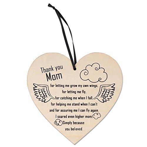 Placa en forma de corazón con palabras de amor - Letrero colgante de madera - Accesorio decorativo para mamá - Adorno, un regalo ideal para Navidad o decoración de Navidad con mensaje grabado