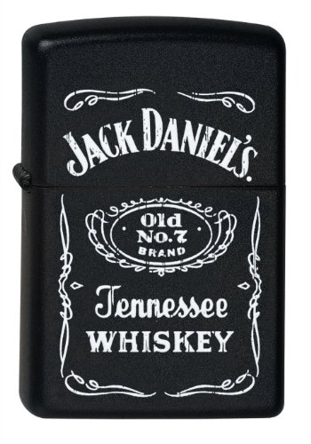 Zippo Feuerzeug 60000604 Jack Daniel's Old No 7 Brand Benzinfeuerzeug, Messing, black matte