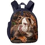Mochila para Niños Cachorro Bulldog Americano, Mochila Escuela Primaria de Edad Peso Ligero Pérdida Mochila de Viaje para Chico Chica