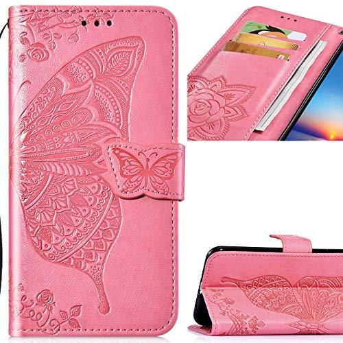 Saceebe Compatibel met LG G7 ThinQ hoes leer premium driedimensionale vlinder bloem reliëf lederen tas met lanyard lederen hoes telefoonhoes bescherming krasbestendig schokbestendig
