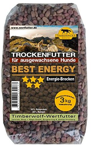 TimberWolf Hundefutter, Best Energy Energie-Brocken, Trockenfutter 3 kg Packung (kg 2,65 €)